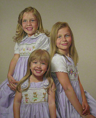 Whitaker Daughters - pastel, 21 x 16, private collection