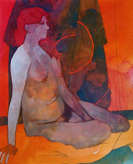 JJ-Foley-nude-red, figurative painting female nude
