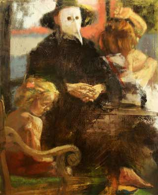 Martha-Wade-Magistrate, contemporary figurative painting, man in costume and mask