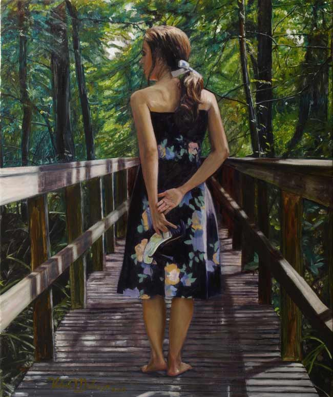 Valerie-Melancon-Gleams-Sunshine, figurative painting woman in forest