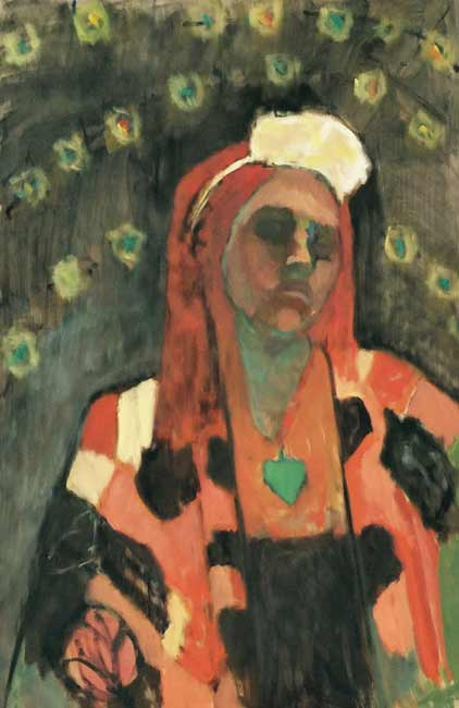 Lori-Rita-036a, figurative self portrait painting, colorful woman with flowers