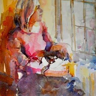 Elga Dzirkalis lovely contemporary figurative watercolor painting
