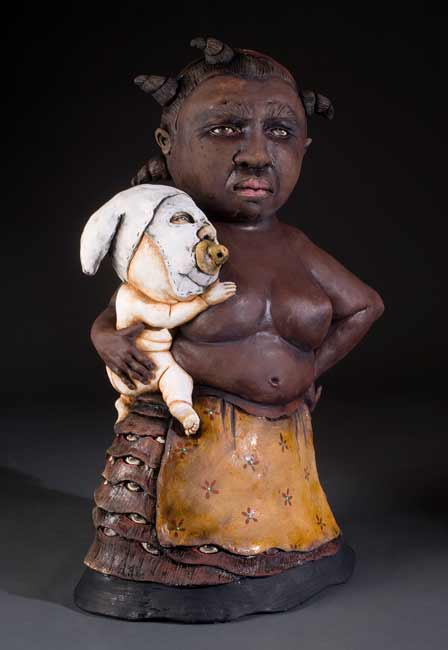 James-Tisdale-0284 figurative ceramic sculpture, Afro-American woman and child
