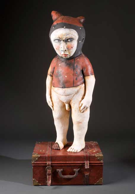 James-Tisdale-7224 figurative ceramic clay sculpture, little boy in red costume