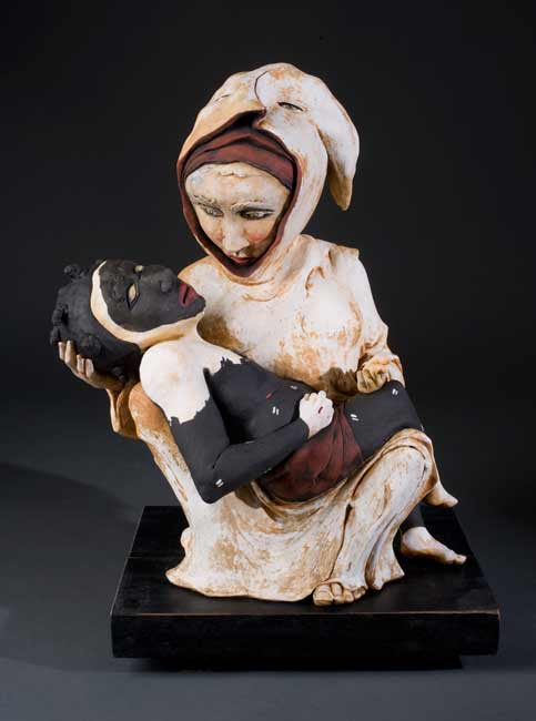 James-Tisdale-9561 figurative ceramic sculpture, mother and child, Pieta