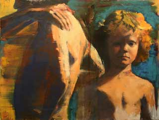 Martha-Wade_outside2, contemporary brushy figure painting, young boys