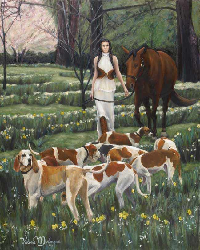 Valerie-Melancon-Old-Friends, figurative painting woman, horse and hounds