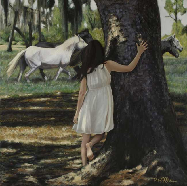 Valerie-Melancon-Summer-Wind, figurative painting girl and horse in forest