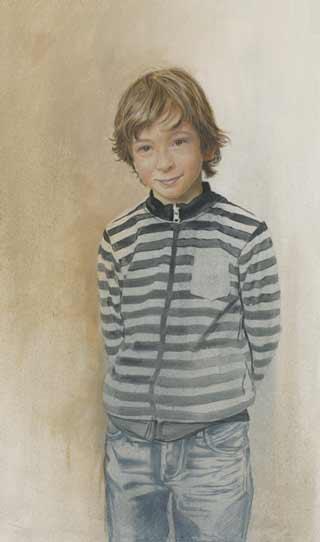 Daan-van-Doorn- young boy, figurative portrait painting Netherlands