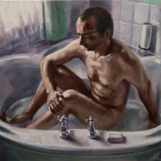 Peter-D'Alessandri-man-bathing, nude man bathing