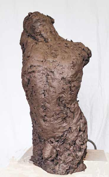Nacera-KAINOU-Adam, birth of Adam, dynamic figurative sculpture, nude male torso