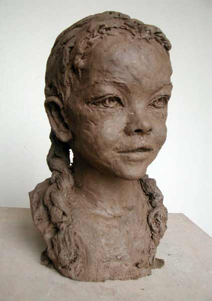 Nacera-Kainou-child-sculpture figurative portrait sculpture small child, girl with braids