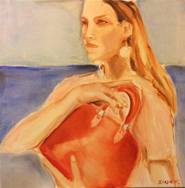 Leslie-Singer-Redbag3, fashion woman figurative painting