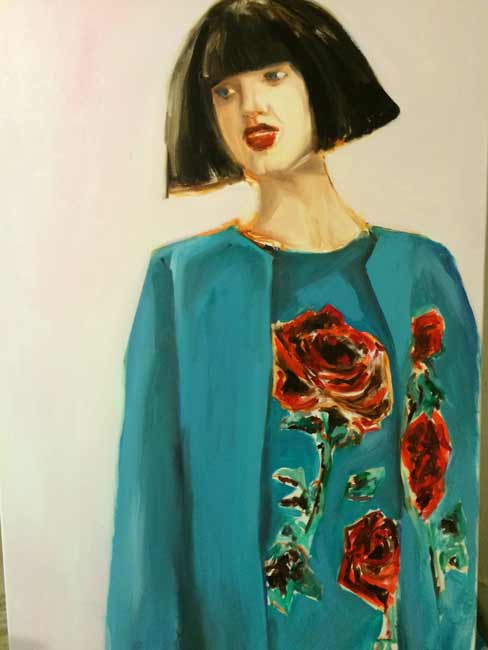 Leslie-Singer-Rose7, fashion woman figurative painting