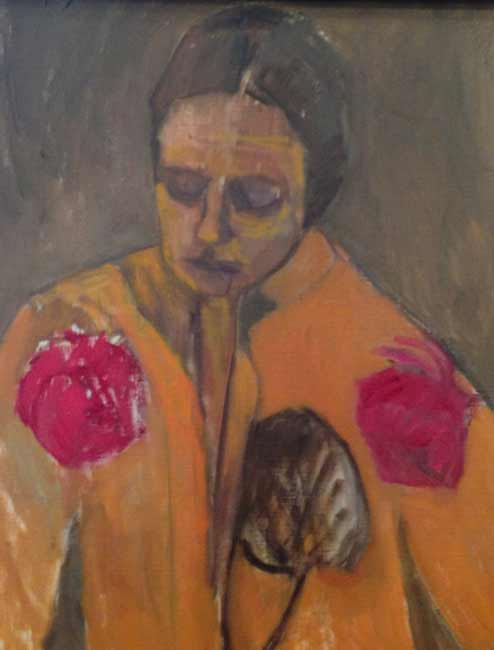 Lori-Rita-025a, figurative self portrait painting, colorful woman with flowers, yellow kimono