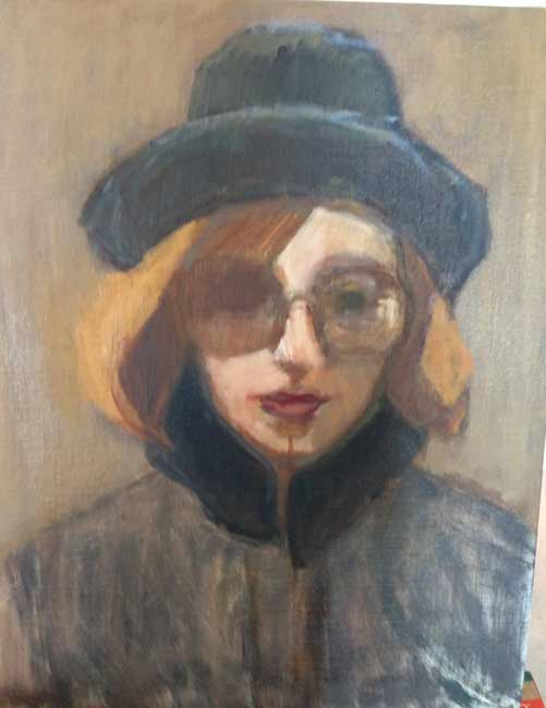 Lori-Rita-026a, figurative portrait woman with hat and glasses