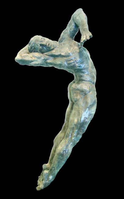 Marilyn-Ines-Rodriguez-diver, nude male figure sculpture