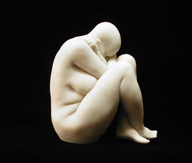 Eve-Shepherd-2Alone2, figurative sculpture nude woman marble resin