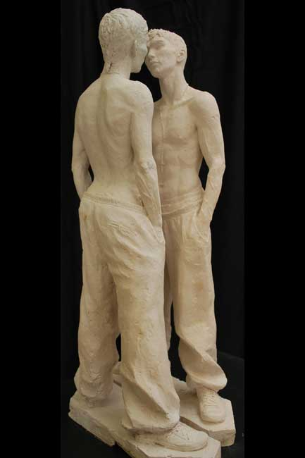 Eve-Shepherd-3Face-Off figurative sculpture men
