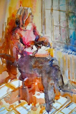 Elga Dzirkalis, beautiful figurative watercolor painting