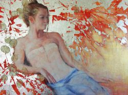 Carole Belliveau, strongly rooted in renaissance religious iconic art with gold leaf