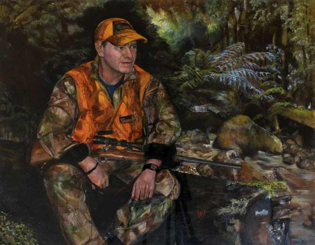 portrait painting of hunter man