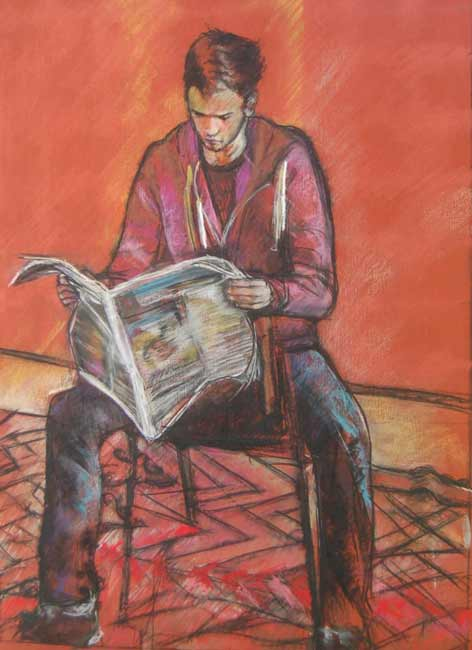 pastel drawing man reading