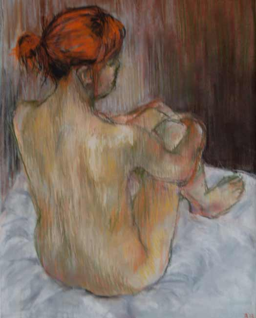 pastel nude woman drawing