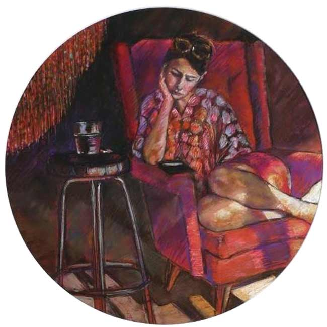 pastel drawing woman on red couch