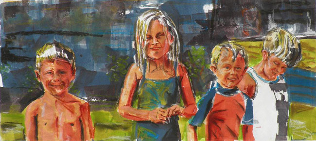 family portrait, children watercolor, children at beach