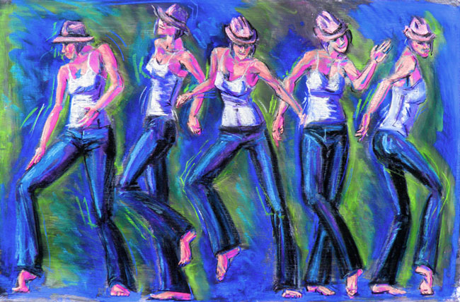 colorful pastel drawing jazz dancer