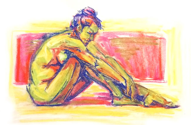 pastel colorful female nude life drawing