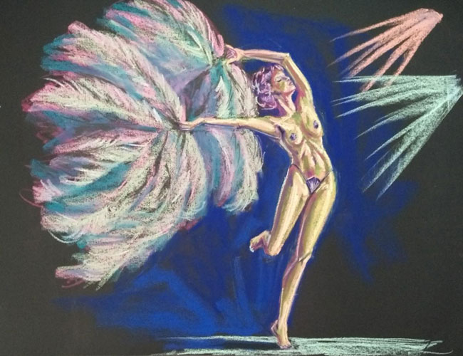 pastel drawing fan dancer